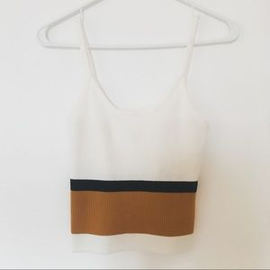 SOLD! WORN ONCE! ✨ Color Block Cropped Ribbed Cami